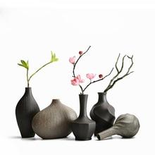 Stoneware vase Zen Chinese style home retro ceramic flower vase arrangement dried flower pottery decoration porcelain vase ceramics blue and white porcelain ceramic vase fashion chinese style rustic porcelain flower
