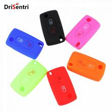 цена на Wih Emblems Silicone Case Remote Cover 2 Buttons Folding Key for Peugeot 208 207 3008 308 RCZ 408 2008 407 307 New Arrival