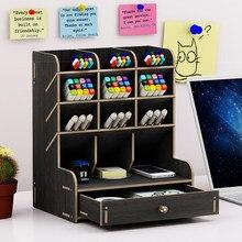 Wielofunkcyjny drewniany pulpit uchwyty na długopisy szkolne biuro futerał do przechowywania biurko długopisy ołówek organizator artykuły biurowe