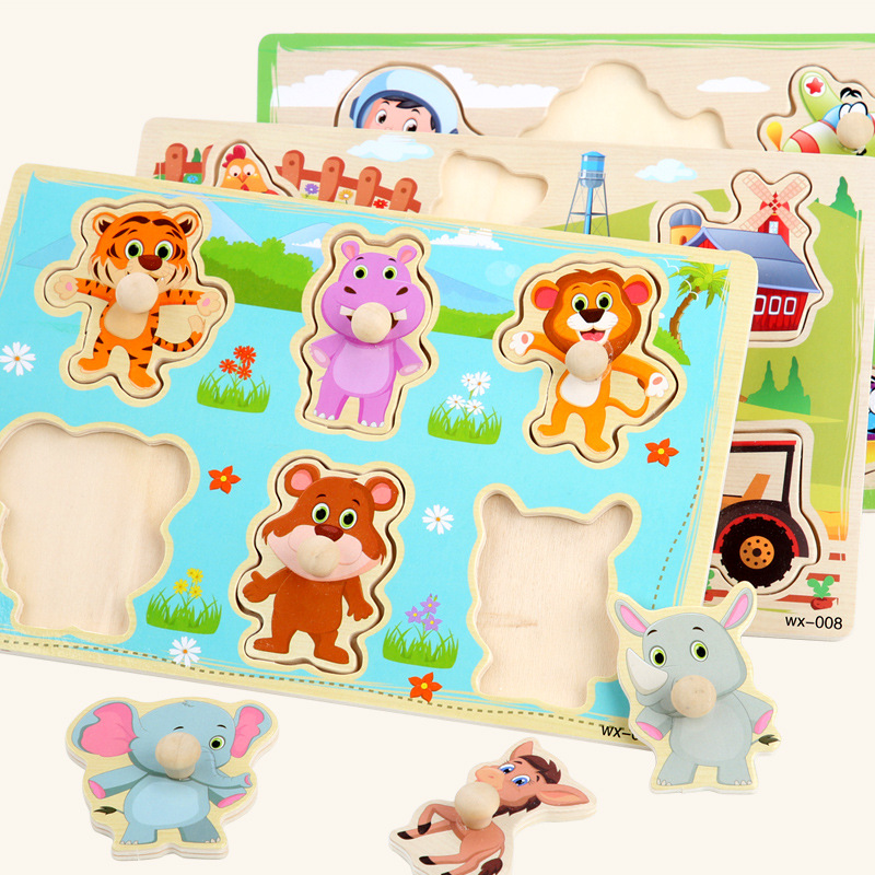New Baby Montessori Toys Wooden Puzzle Cartoon Vehicle Digital Animal Puzzles Jigsaw Board Learning Educational Toy for Children(China)