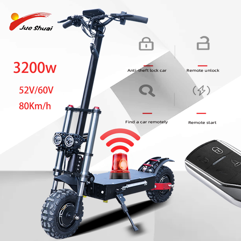 3200W <font><b>Electric</b></font> <font><b>Scooter</b></font> 11inch <font><b>Motor</b></font> <font><b>Wheel</b></font> Off Road Fat tire Dual Powerful E <font><b>scooter</b></font> Foldable Adult EScooters <font><b>Electric</b></font> Skateboard image