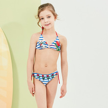 Купальник для маленьких девочек, детское бикини, детские купальники с милым принтом собаки, топ с бретельками, полосатый купальник, женский пляжный костюм