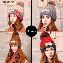 2019 Women's Winter Hat Wool Fashion Wool Cap For Women Female Hat Knitted Letter Adult Beanie Autumn Fall Hat Warm Snow Hat