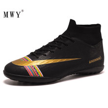 MWY Men Soccer Shoes Ankle Football Boots Cleats Training Sport Outdoor Turf Sneakers Plus Size 45 Chaussure De Foot
