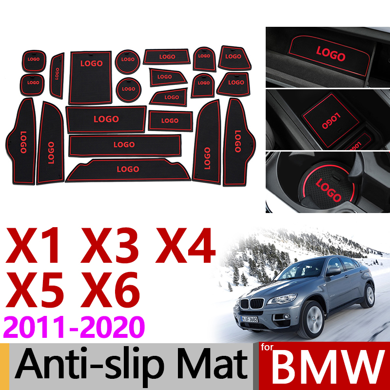 Anti-Slip Rubber Gate Slot Cup Mat for <font><b>BMW</b></font> <font><b>X1</b></font> F48 X3 F25 X4 F26 X5 F15 X6 F16 X3 G01 <font><b>Accessories</b></font> Stickers with M Logo 2017 <font><b>2018</b></font> image