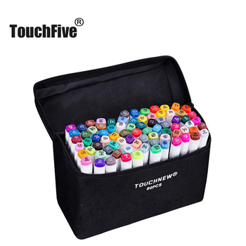 TOUCHFIVE Art Markers 60 Colors/Set Dual Headed Alcohol Marker Color Pen Anime Student Design Sketch Manga (White Body)