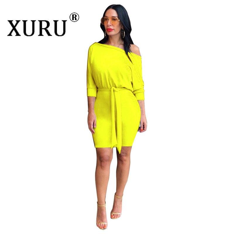 XURU осенне-зимнее Новое однотонное женское платье в европейском и американском стиле, хит продаж, платье с рукавами «летучая мышь»
