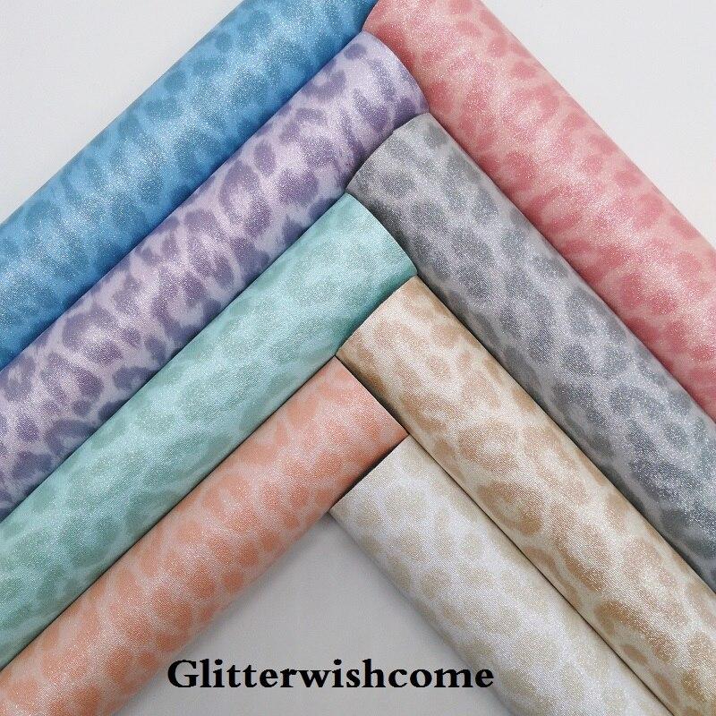 Ткань Glitterwishcome 21x29 см, Размер A4, винил для бантов, кожаная ткань с леопардовым принтом, листы из искусственной кожи для бантов, GM233A
