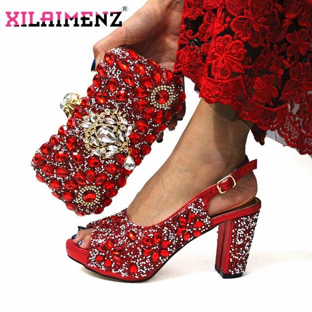 ฤดูหนาวใหม่อิตาเลี่ยนออกแบบไนจีเรียผู้หญิงรองเท้าและกระเป๋า Match คุณภาพสูง Shinning สีแดงคริสตัลสำหรับงานแต่งงาน