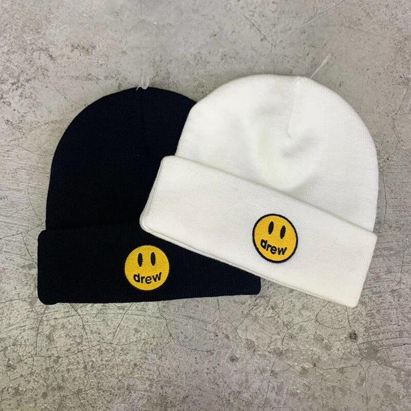 Gebreide Hiphop Streetwear Justin Bieber Mutsen Glimlach Gezicht Drew Cap hoed1:1 Top Kwaliteit Drew Huis Hoeden Vrouwen Mannen