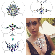 Acrylic Crystal Diamond Chest Decoration Tattoo Drill Paste Resin Face Stick Drill Holiday party Festival Rhinestone Stickers electric festival body art jewels paste diy chest drill acrylic drilling performance make up bar nightclub music party