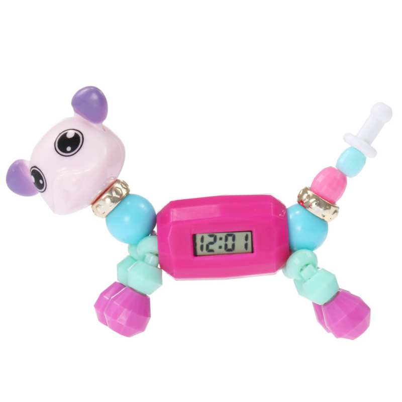 Dropshipping Elf DIY Beaded Bracelet Baby Watch Cartoon Animal Magic Variety Child Educational Toys Electronic Watch Kids Gift