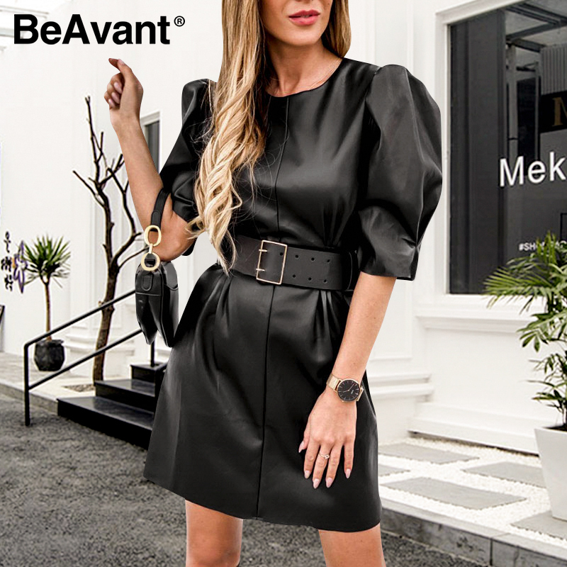 BeAvant Fashion Black PU Leather Dress Women Spring Summer Puff Sleeve Faux Work Wear Short Dresses Ladies O-Neck Dresses Belt