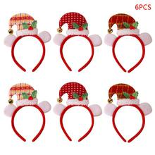 6pcs Christmas Hat Bell Hair Band Headband New Year Xmas Party Clasp Hoop Headwear Birthday Party Favor Decor(China)