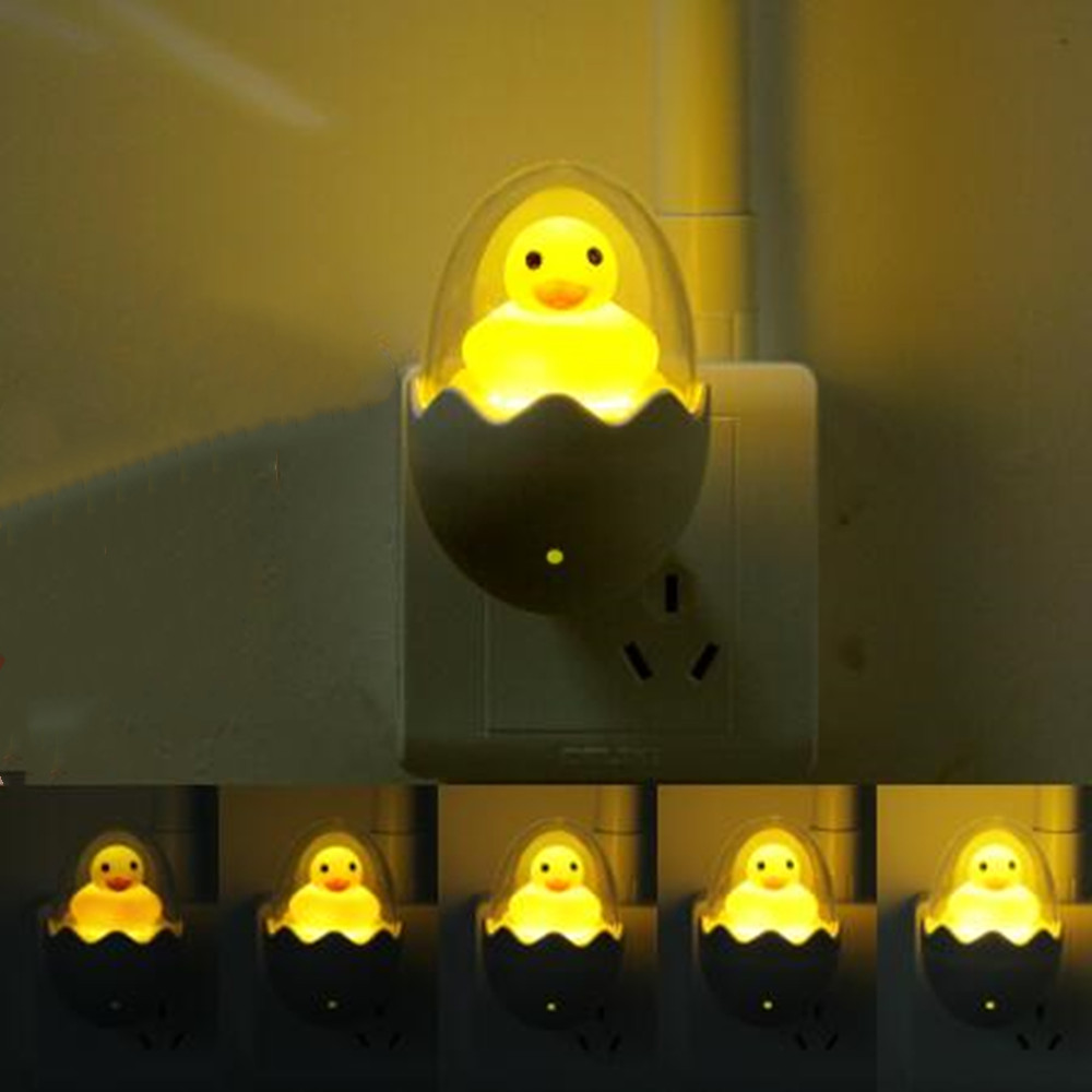 Sound Control LED Night Light Yellow Duck EU Plug Wall Lamp For Children Cartoon Creative Gift Bath Light Toilet Light