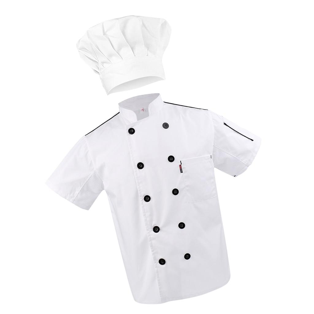 Chef Coat Waiter Uniforms L Cook Adjustable Kitchen Baker Chef Cap Hat White