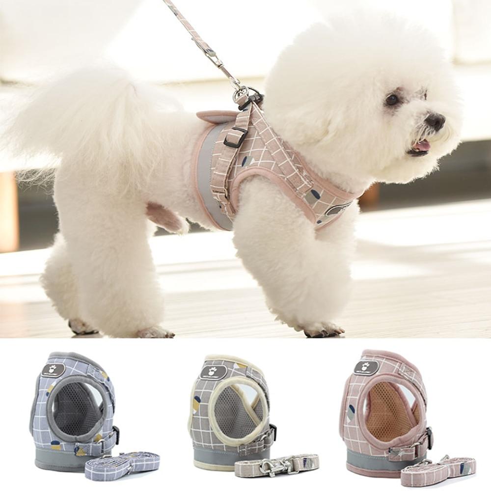 Arnés reflectante para perros y gatos, chaleco de malla transpirable, correa de arneses, suministros para mascotas