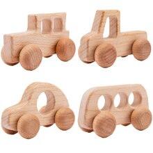 4 шт Деревянные игрушки Монтессори буковая древесина автомобиля