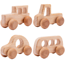 4Pcs Wooden Toys Montessori Educational Beech Wood Car Children Cartoon Car Toy Baby Wood Gift For 2-6 Years Old Kids