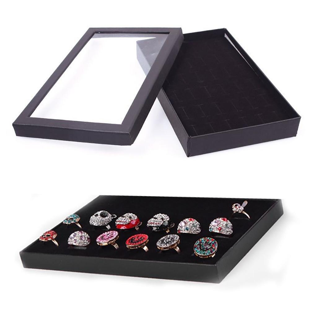 New Fashion Transparent 36-slot Ring Display Stand Metal Earrings Jewelry Storage Box Environmental Organizer Jewelry