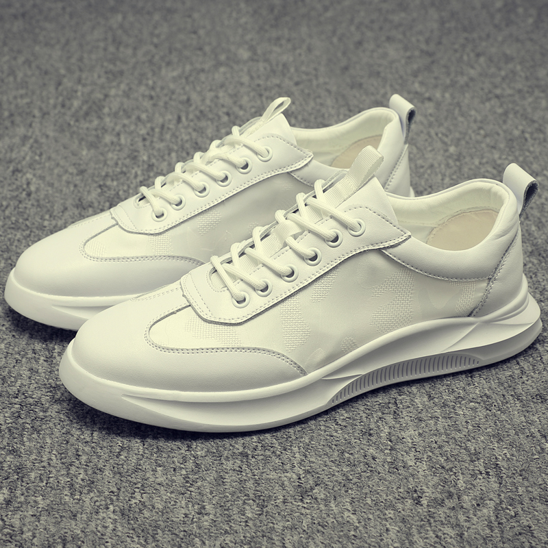 Men's Summer Fashion Joker Korean Version Lace-up Leather Casual Shoes Breathable Shoes Small White Shoes Sneakers