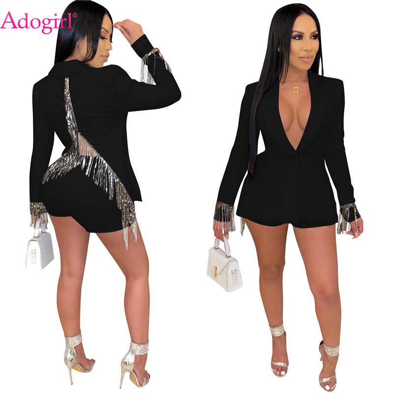 Adogirl Back Slit Tassel Two Piece Set Turn Down Collar Long Sleeve Blazer Coat Top + Shorts Women Business Suit Sexy Outfits