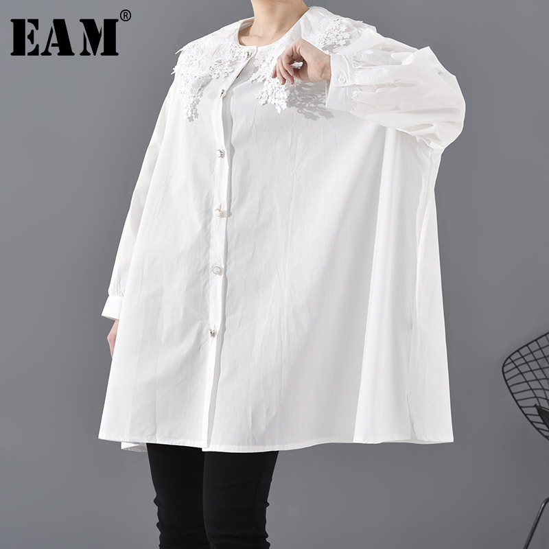 [EAM] Women White Lace Collar Split Joint Big Size Blouse New Long Sleeve Loose Fit Shirt Fashion Spring Autumn 2020 1S12801