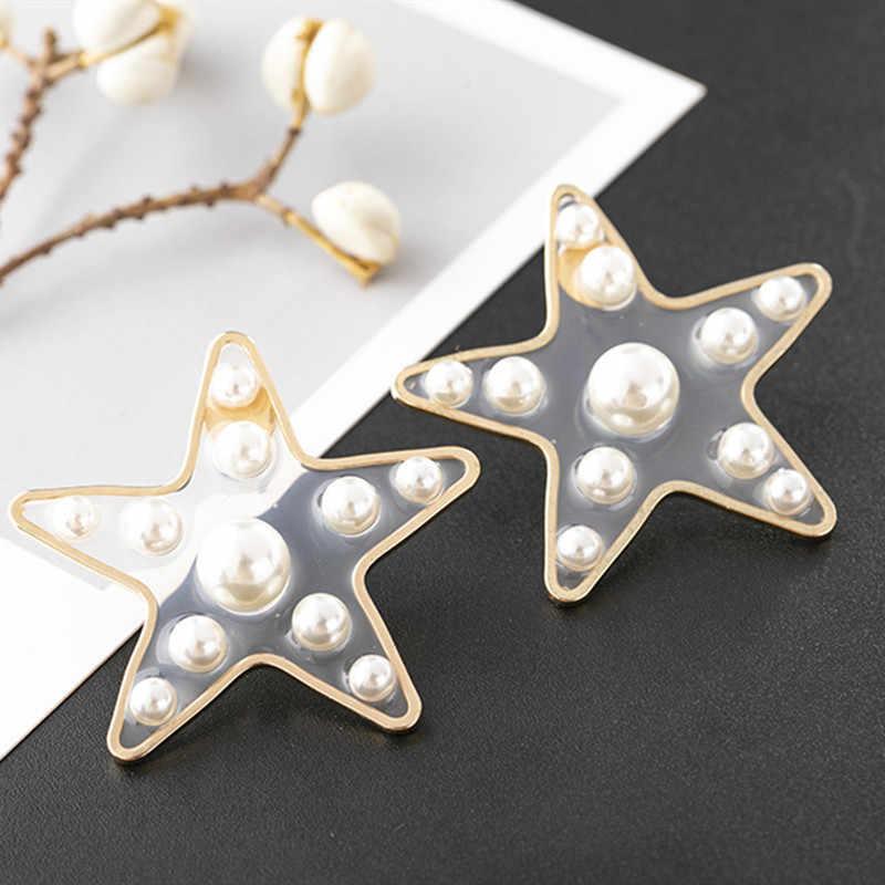 ファッション透明樹脂真珠のスタッドのイヤリング韓国アクリルハートスター休日風のイヤリング 2019 新しい女性ジュエリー