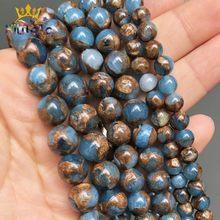 Perles rondes en pierre de cloisonnement bleu lac, perles naturelles d'espacement pour la fabrication de bijoux, clous d'oreilles, accessoires 15 ''6/8/10mm
