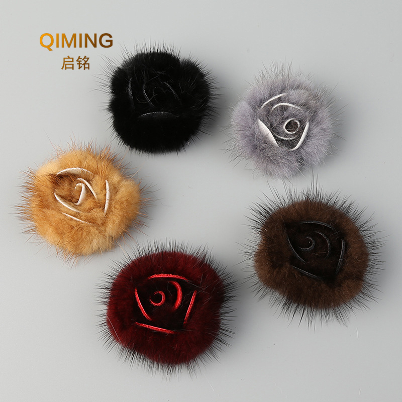 Solid Color 100% Mink Fur Flower Peony 6cm Shoes Cloth Accessories Diy Clothing Pants Hats Scarf Shawl Leather And Fur Ornaments
