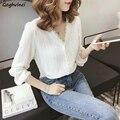 Frauen Blusen V-ausschnitt Chiffon Sommer Feste Koreanische Stil Spitze Gefüttert Weibliche Taste Elegante Dünne Ulzzang Freizeit Alle-spiel Einfache