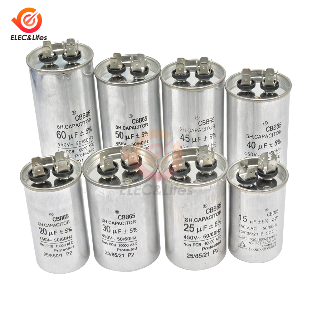 AC450V 50/60Hz Metal Zinc Aluminum Film Capacitor CBB65 Run Motor Compressor Air Conditioner Capacitors 15μF 20μF 25μF 30μF 40μF