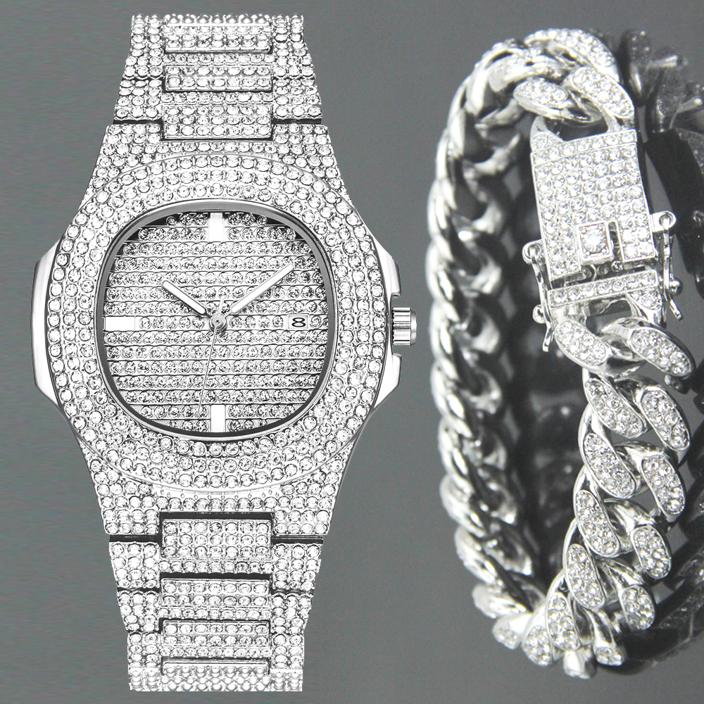 Fashion Iced Out Diamond Watch For Men Women's Quartz Watches Micropave CZ Hip Hop Cuban Chain Bracelet Waterproof Clock Relogio