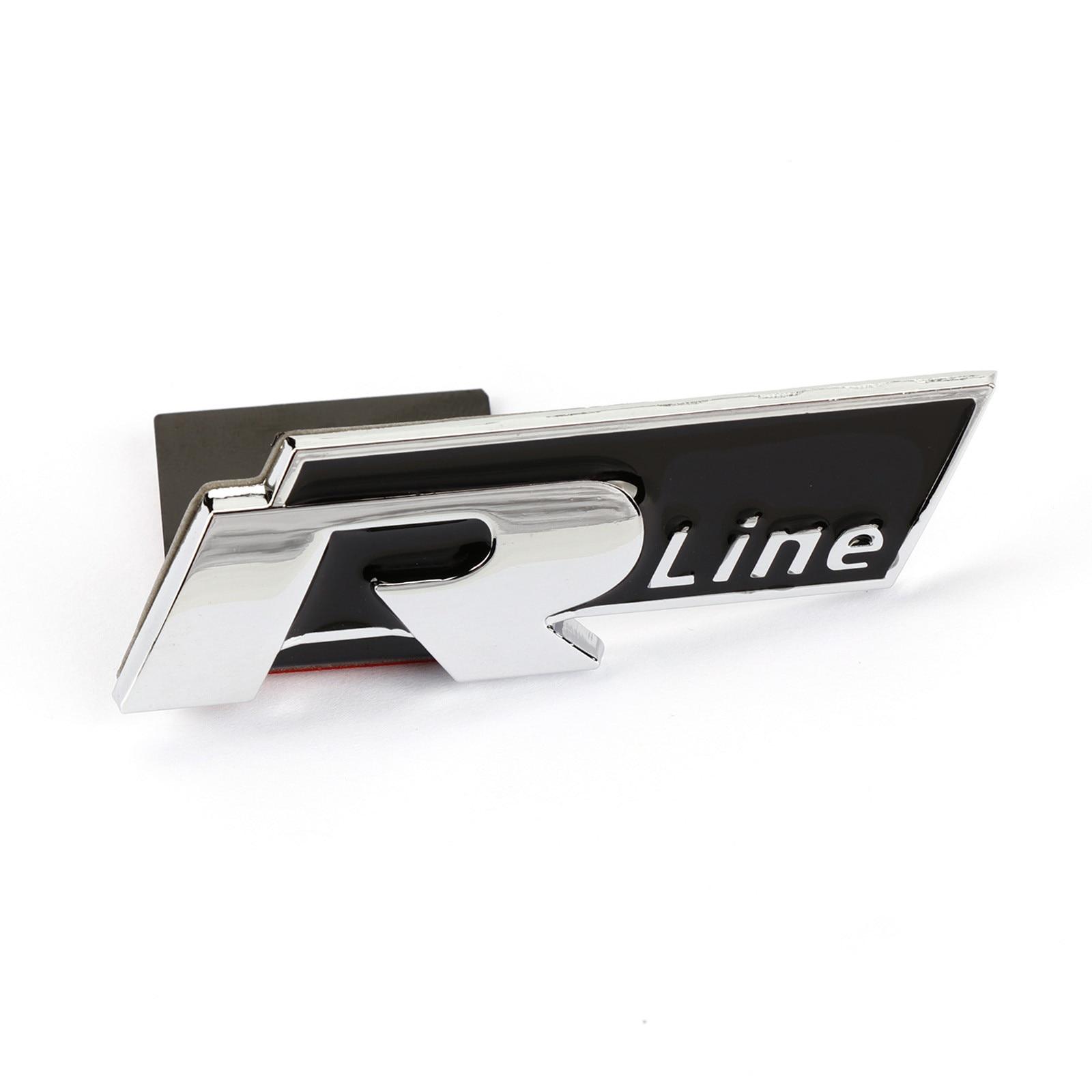 3D RLINE Logo Front Grill Grille Black Metal Badge Emblem Fit  VW Passat