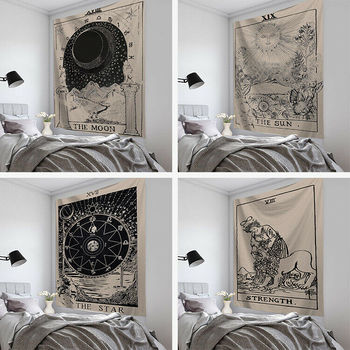 Farrot 95X73CM New Tarot Card Tapestry Wall Hanging Astrology Divination Bedspread Beach Ma image
