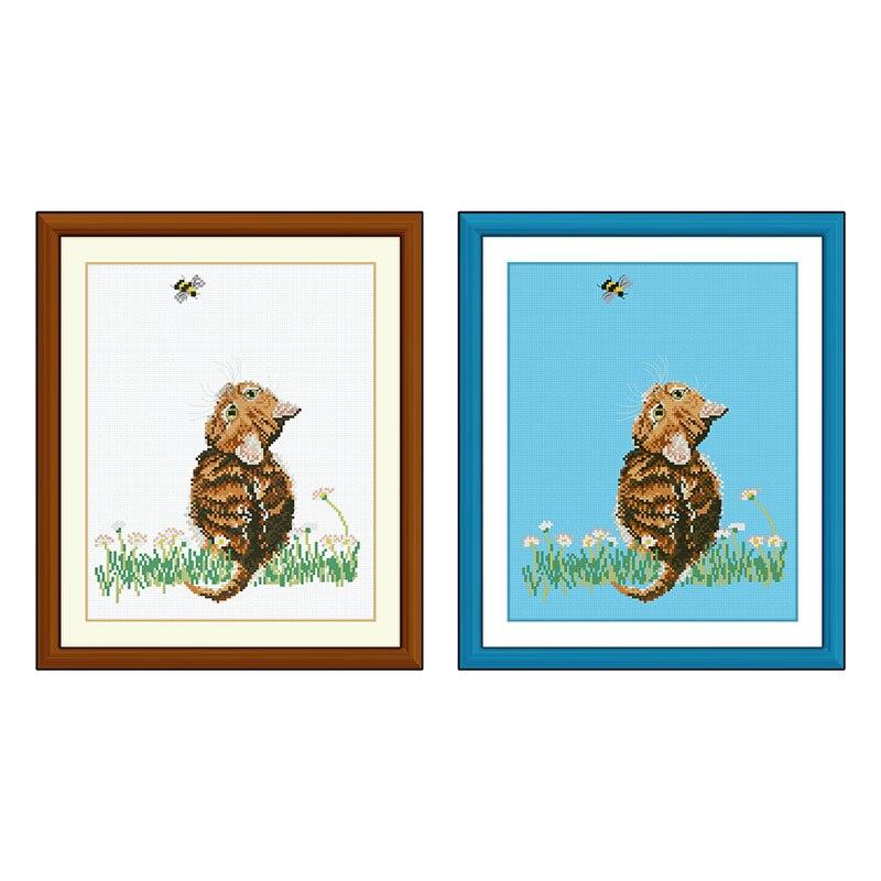Fishxx Cross Stitch Col182-2 Kitten and Bees Blue Vyšívané látky roztomilé kreslené zvířecí domácí výšivky
