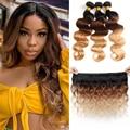 Бразильские волнистые волосы, для придания объема, вплетаемые пряди эффектом деграде (переход от темного к Цветной 100% пряди человеческих во...