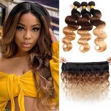 Onda do corpo brasileiro cabelo tecer pacotes ombre colorido 100% extensão do cabelo humano 10 bundles 30-30 bundles pacotes de cabelo remy marrom tecelagem