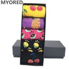MYORED 5 pair/lot mens colorful funny socks cotton fruit series long sock for men causal bright multi-color wedding gift NO BOX