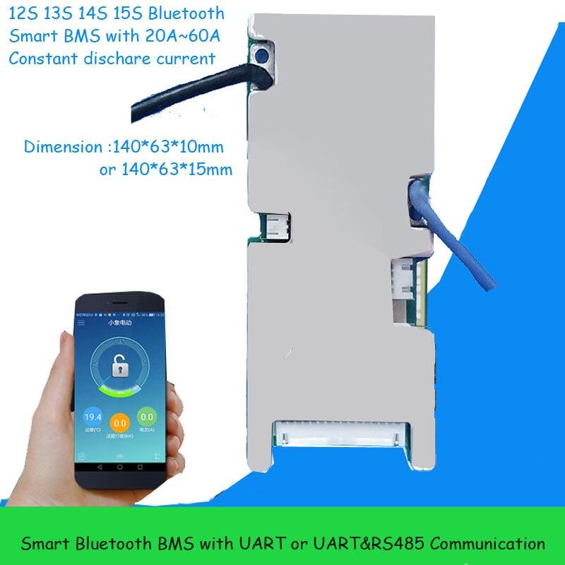 13 s ou 14 s li ion inteligente bms para 48 v bateria 54.6 v ou 58.8 v com função bluetooth uart ou rs485 em 20a 30a 40a 60a atual