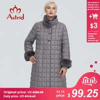 2019 Astrid donne giacca invernale con collo di pelliccia di disegno lungo di spessore cotone di abbigliamento di moda modello di griglia delle donne caldo parka FR-2040