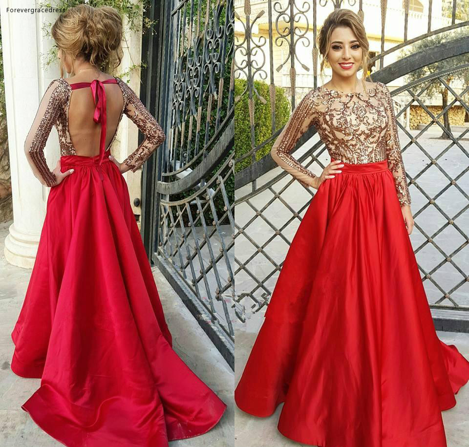 2019 Long Sleeves   Prom     Dress   A Line Sheer Crew Neck Sequins Formal Holidays Wear Graduation Evening Party Gown Custom Made