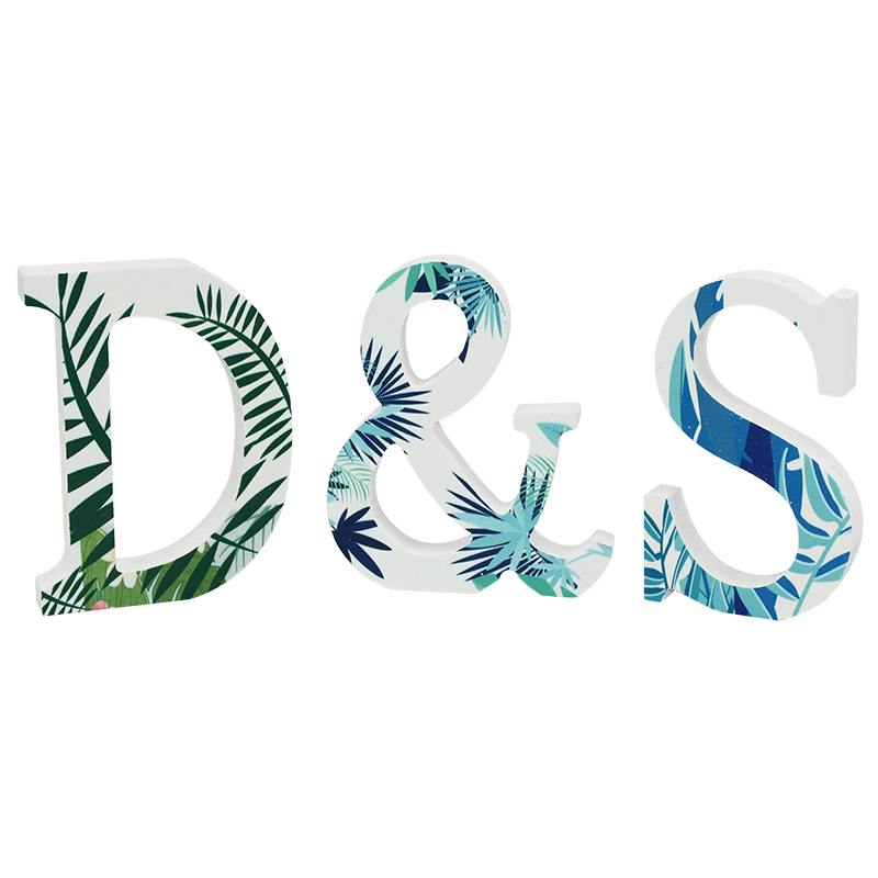 1pc DIY Wooden Letter Free Standing Alphabet Ornaments Wedding Birthday Name Design Flamingo Tropical Theme Party Decorations