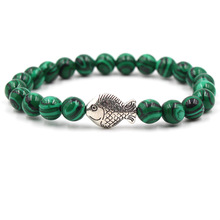 Summer Style Marine Fish Charm Bracelets Women Men Same Paragraph Natural Stone Elastic Friendship Bracelet Beach Jewelry