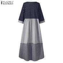 Casual Plaid Kaftan Sundress Women ZANZEA Spliced Dresses Printed Maxi O-Neck Holiday Bohemian Vestidos Robe Femme Plus Size 5XL