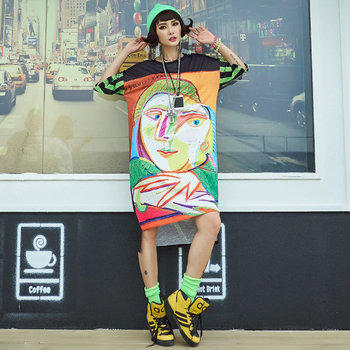 Harajuku Tshirt Dress Women Overisized Stylish Print Summer 2020 Dresses Plus Size Loose Irregular Hem Hip Hop Casual Clothing face print dolman sleeve curved hem tshirt