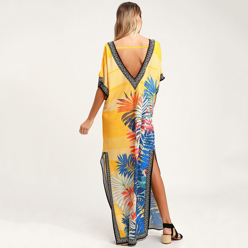 2019 Yellow Bohemian Printed Lace Up V neck V Back Side SPlit Summer Beach Dress Plus Size Women Beachwear Kaftan Sarongs in Cover Ups from Sports Entertainment