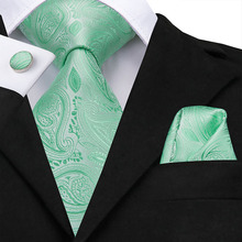 Blue Silk Tie For Men Fashion Green Paisley Pattern Designer Formal Business Wedding Party Hanky Cufflink Necktie Suit