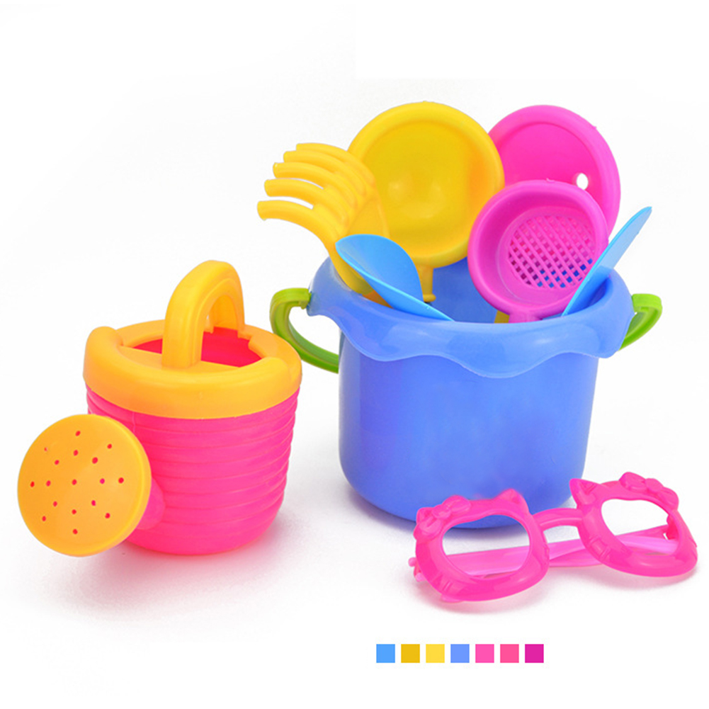 9pcs/Set Colorful Beach Kettle Funnel Seaside Shovel Water Toy Set Sand Play Bucket Simulation Glasses Plastic Random Color
