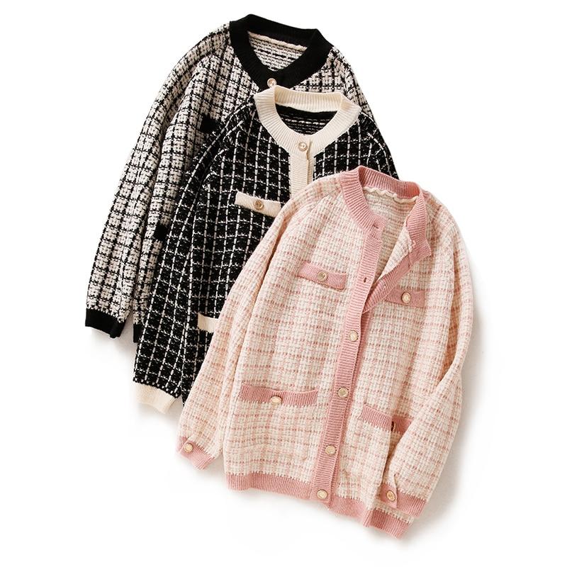 Elegant Women Knit Sweater Cardigans Retro O-neck Single-breasted Pink White Plaid Long Open Stitch Loose Winter Knit Jacket